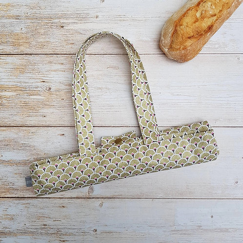 Sac à pain coton enduit style japonais motifs éventails or