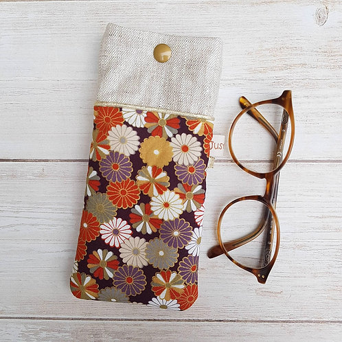 Etui à lunettes en tissu japonais fleurs chrisanthèmes