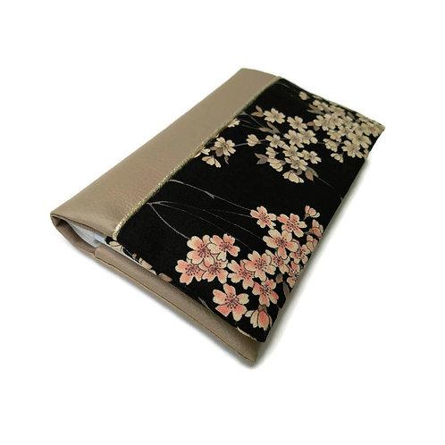 Porte-chéquier tissu japonais fond noir et simili cuir