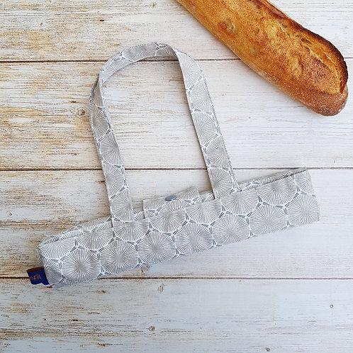 Sac à pain coton enduit géométrique style scandinave gris