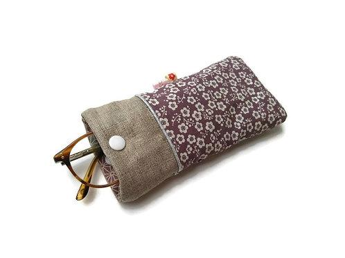 Etui à lunettes en tissu japonais fond mauve fleurs prunier