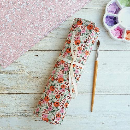 Pochette rangement roulée, trousse artiste tissu au choix