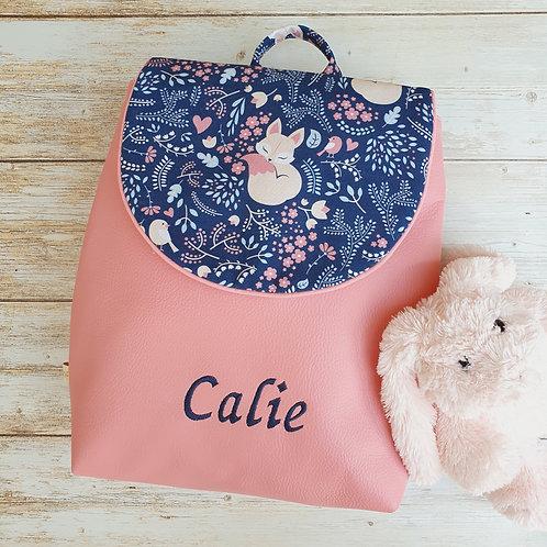 Sac à dos enfant, sac maternelle simili cuir rose et tissu motif renard