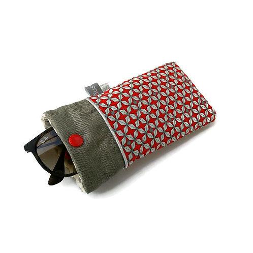 Etui à lunettes en tissu Petit Pan rouge géométrique