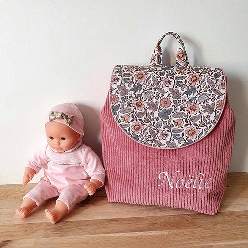 Sac à dos enfant, sac maternelle velours vieux rose et liberty