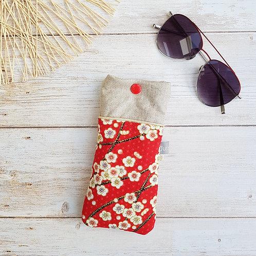 Etui à lunettes en tissu japonais fleurs de prunier rouge