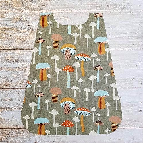 Serviette élastiquée personnalisable tissu coton motif champignons et éponge