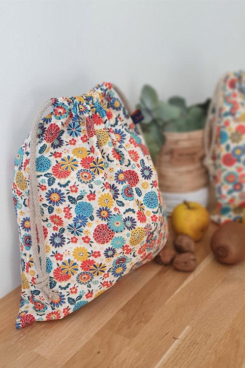 Sac à vrac tissu 100% coton motifs fleurs style japonais