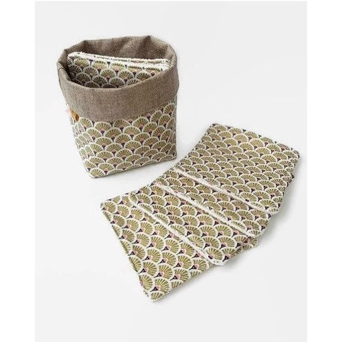 Lot 8 lingettes éponge bambou et tissu motif éventails or et panière assortie