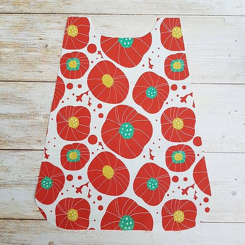 Serviette élastiquée personnalisable tissu coton motif coquelicot et éponge
