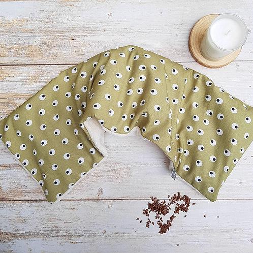 Bouillotte sèche déhoussable 53 cm housse coton motif géométrique et éponge bio