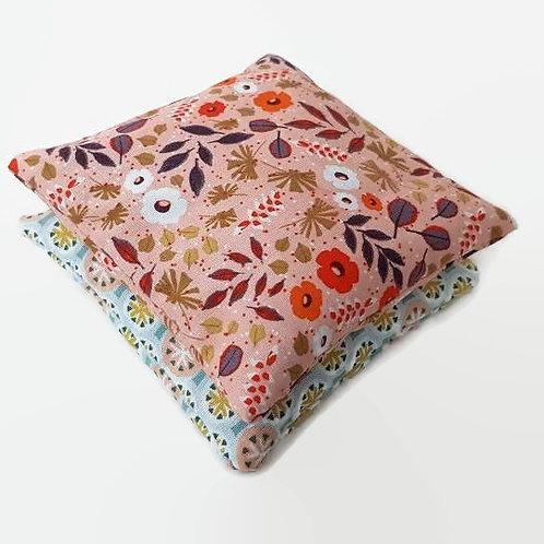Lot 2 mini-bouillottes coton imprimé géométrique et fleurs