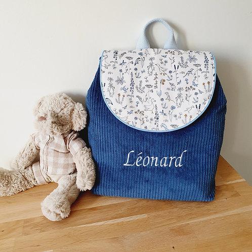 Sac à dos enfant, sac maternelle velours bleu profond et liberty théo
