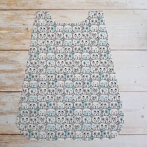 Serviette élastiquée personnalisable tissu coton motif têtes de chat et éponge