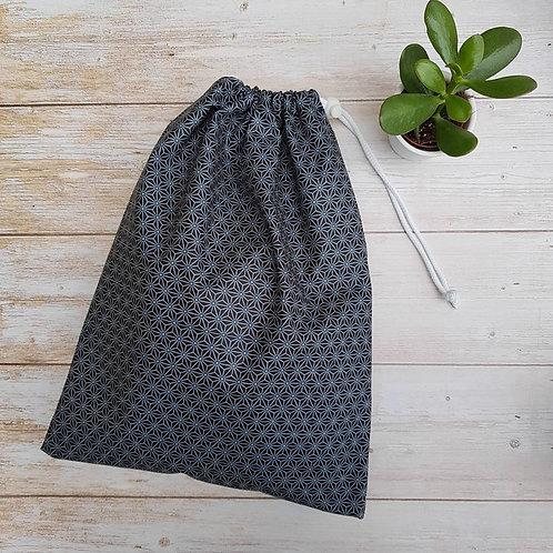 Sac à vrac tissu enduit motif géométrique noir
