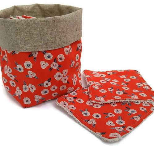 Lot 8 lingettes éponge bambou et coton fleurs fond rouge et panière assortie