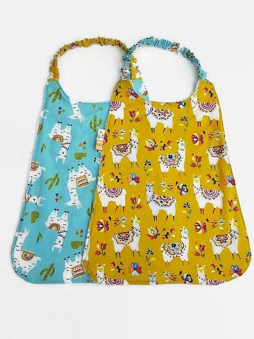 Serviette élastiquée personnalisable coton motifs lamas moutarde ou bleu