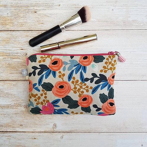 Trousse, pochette maquillage coton fond écru motifs fleurs doublée lin