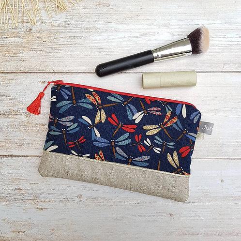Pochette à maquillage coton japonais motifs libellules