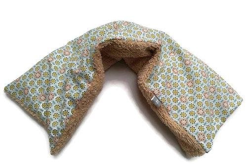 Bouillotte sèche déhoussable 53 cm housse coton motif rose et bleu et éponge