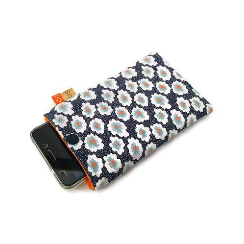 Pochette téléphone en coton Petit Pan oeko tex Osami bleu nuit