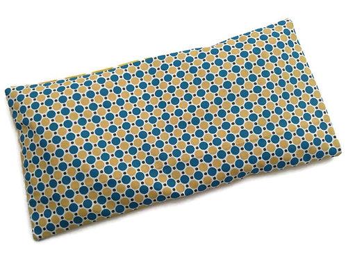 Bouillotte sèche déhoussable 31cm housse coton motif géométrique jaune et bleu