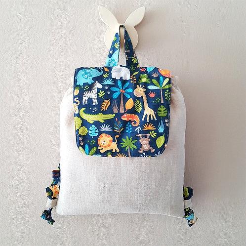 Sac à dos enfant lin et  animaux jungle tissu créateur, sac personnalisé