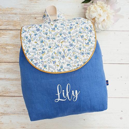Sac à dos enfant, sac maternelle lin lavé bleu et liberty firely