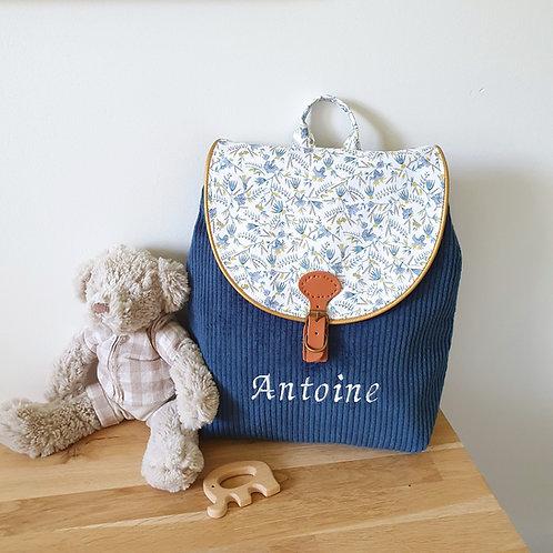 Sac à dos enfant, sac velours bleu profond et liberty firely bleu
