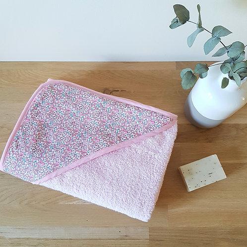 Cape de bain personnalisable éponge douce rose et liberty Eloïse dragée