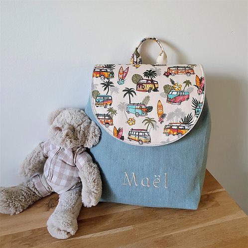 Sac à dos enfant, sac maternelle lin lavé vert d'eau et tissu assorti