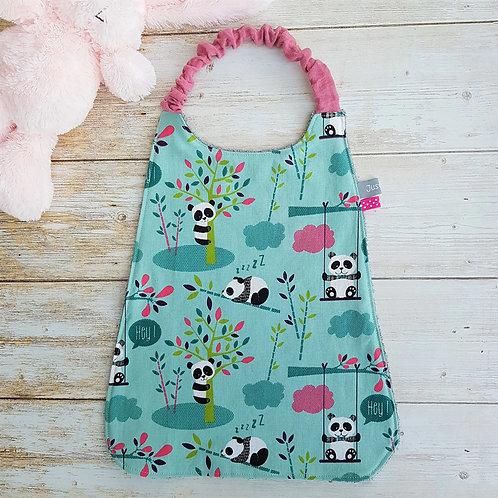 Serviette élastiquée personnalisable coton fond vert motifs pandas
