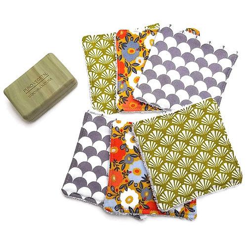 Lot 6 lingettes éponge bambou et mixte tissus à motifs
