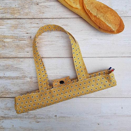 Sac à pain coton enduit géométrique saki japonais jaune