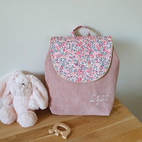 Sac à dos enfant, sac maternelle velours, liberty Wiltshire pois de senteur