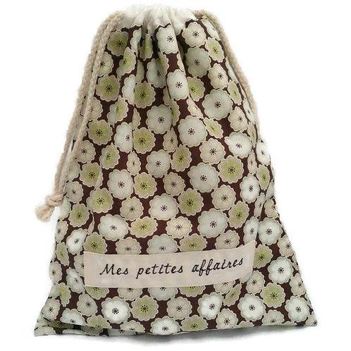"Pochon coton Liberty toria chocolat ""mes petites affaires"""