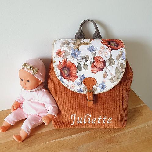 Sac à dos enfant, sac maternelle velours caramel et fleurs vintage