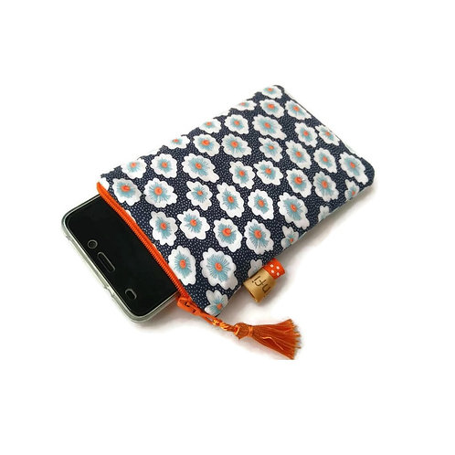 Pochette téléphone en tissu Petit Pan oeko-tex fond bleu nuit