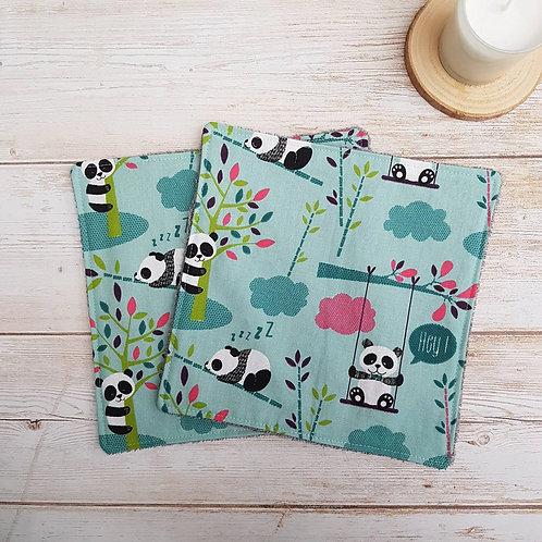 Grandes lingettes, essuie-tout éponge bambou et coton motif pandas