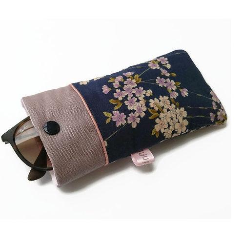 Etui à lunettes en tissu coton japonais gaufré fond marine fleurs de cerisier