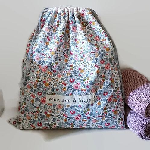 Grand pochon doublé personnalisé coton Liberty betsy porcelaine