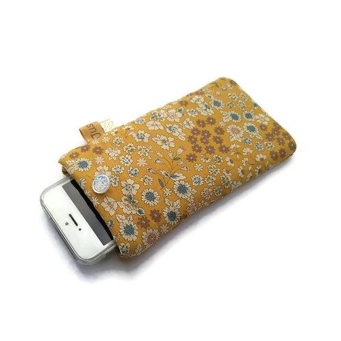 Pochette téléphone en coton Frou Frou japonais moutarde