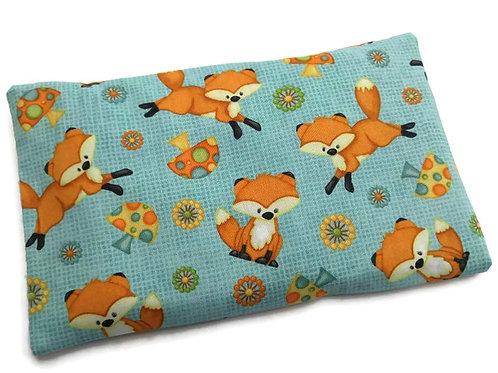 Bouillotte sèche déhoussable 23cm housse coton turquoise motif renards