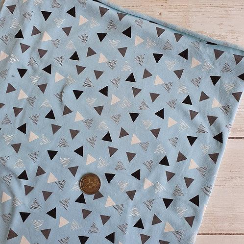 Coupon Jersey fin fond bleu motifs géométriques