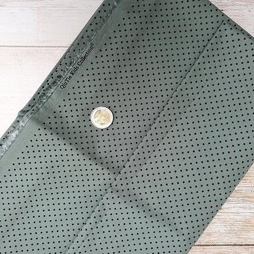 Coupon tissu coton vert à pois