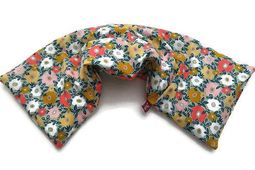 Bouillotte sèche déhoussable 53cm housse coton fleurs fond menthe