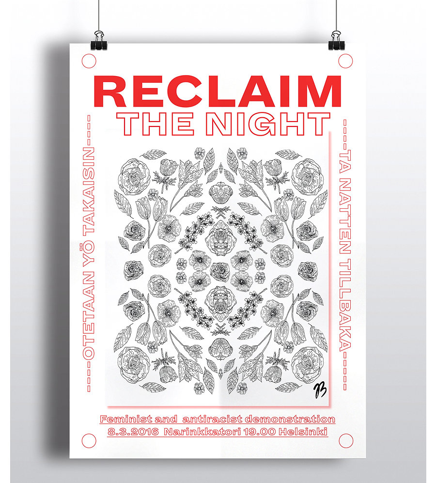 Illustration and poster design for feminist and anti racist demonstration by graphic designer Johanna Bruun. Illustration och poster design av grafisk designer Johanna Bruun. Kuvitus ja julistesuunnittelu Johanna Bruun.