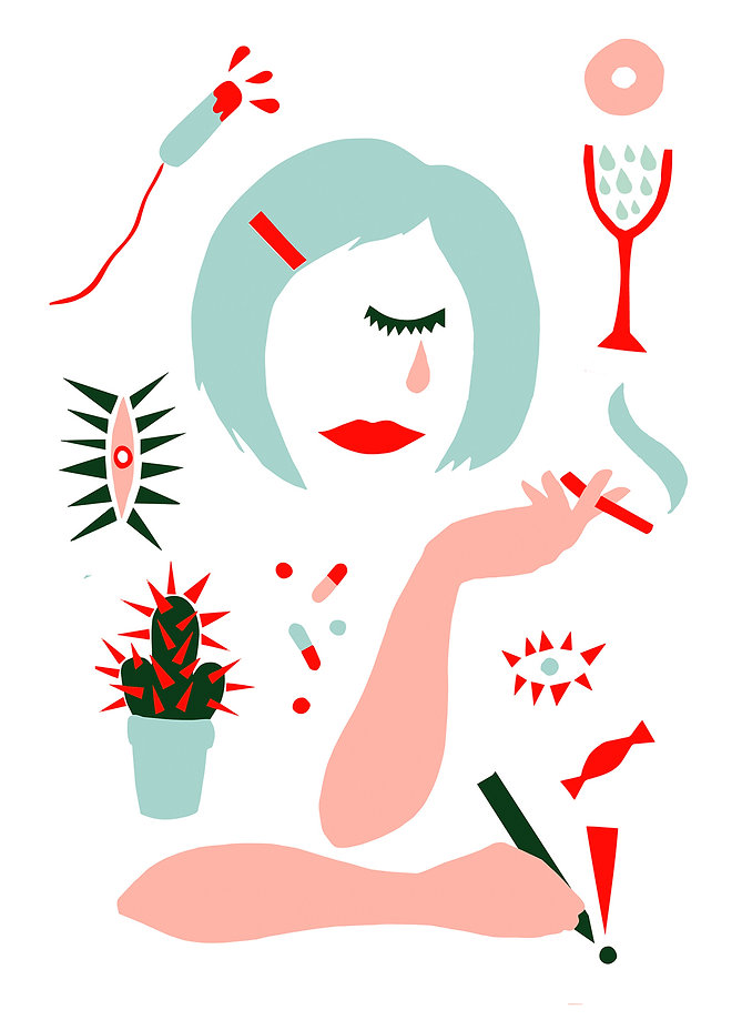 "Illustration on Lena Dunhams book ""Not that kind of girl"" by graphic designer Johanna Bruun"