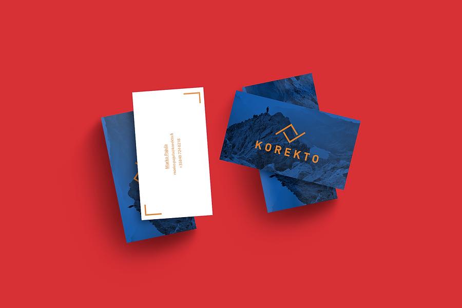 Fresh logo design and design of business cards for company Korekto by Finnish graphic designer Johanna Bruun.