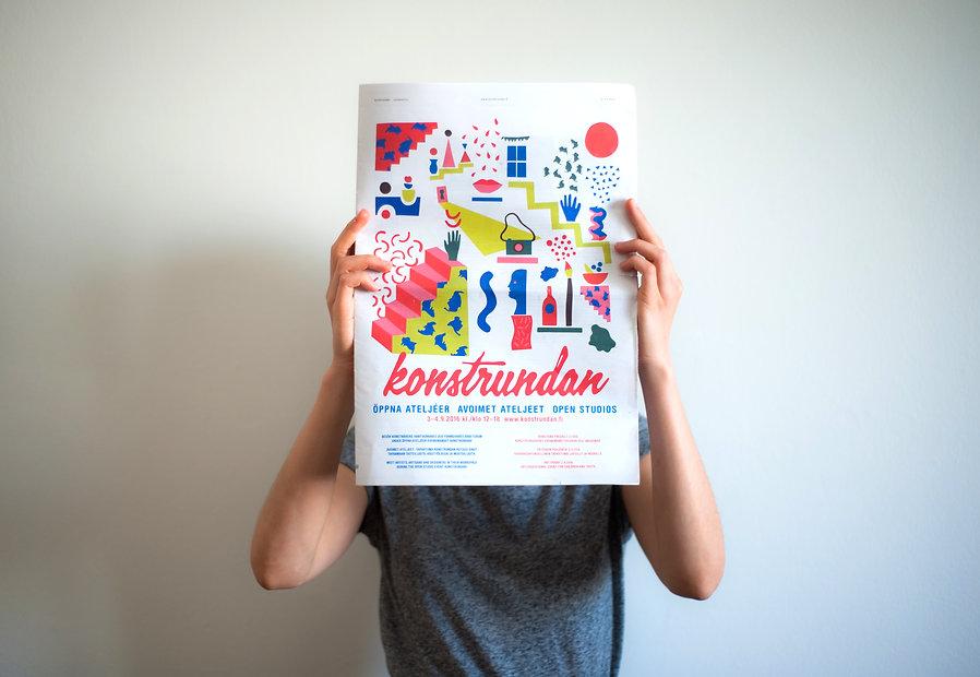 Marketing illustration for art event Konstrundan by graphic designer Johanna Bruun.